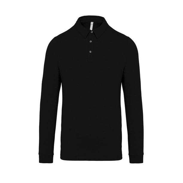 Jersey knit long sleeve polo shirt