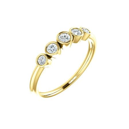 14k Yellow Gold 1/4 Ct Diamond Graduated Bezel Set Right Hand Ring