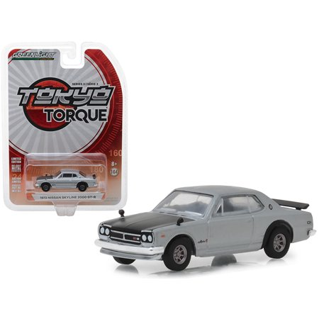 "1972 Nissan Skyline 2000 GT-R Silver with Black Hood ""Tokyo Torque"" Series 3 1/64 Diecast Model Car by Greenlight"