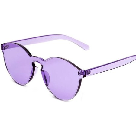 Colorful Transparent Round Retro Women's Fashion Designer Sunglasses Plastic Frame Purple Lens OWL (Purple Sunglasses)