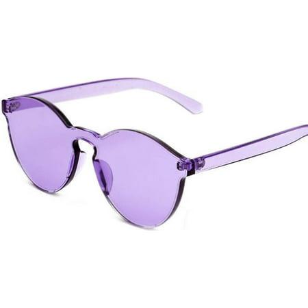 Colorful Transparent Round Retro Women's Fashion Designer Sunglasses Plastic Frame Purple Lens OWL