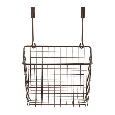Spectrum Diversified Grid Storage Basket, Over the Cabinet, Steel Wire Organization, Under Sink Organization for Kitchen & Bathroom, Large, Bronze Steel Wire Basket