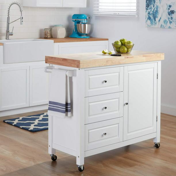 Simple Living Monterey Kitchen Island Cart Walmart Com Walmart Com
