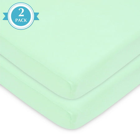 American Baby Company 2 Pack 100% Natural Cotton Value Jersey Knit Fitted Portable/Mini-Crib Sheet, Mint, Soft Breathable, for Boys and Girls 2 Pack Flat Sheets