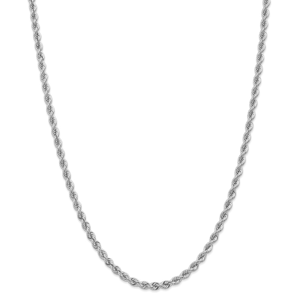 """14K White Gold 4.0mm High Polished Regular Rope Necklace Chain -7"""" (7in x 4mm) by"""