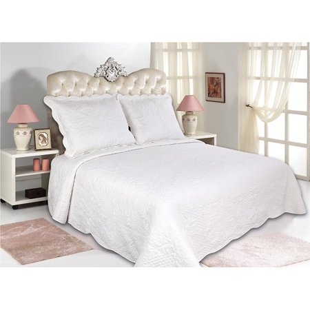 All for You 3pc Reversible Quilt Set, Bedspread, or Coverlet--5 different sizes-white color ( full/queen 86