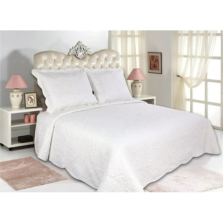 Bedspreads.All For You 3pc Reversible Quilt Set Bedspread Or Coverlet 5 Different Sizes White Color Full Queen 86 X 86 With Standard Pillow Shams