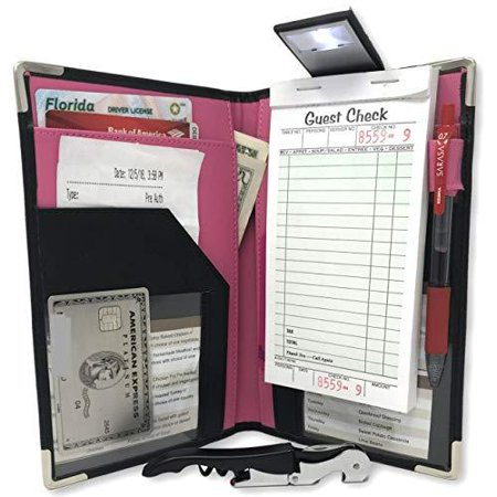 Drip Wine Server (10 Pocket Pink Server Book – FREE BONUS WINE OPENER & READING FLASHLIGHT )