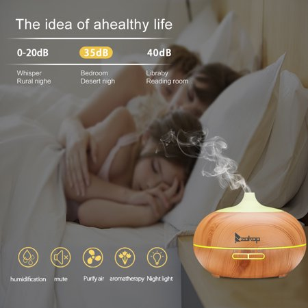 Brown Mist - ZOKOP 2468WF 110V 550ML RGB Aroma Diffuser without Controller, Wood Grain Aromatherapy Diffuser Ultrasonic Cool Mist Humidifier with Color LED Lights Changing for Bedroom Office Home Baby Room Yoga