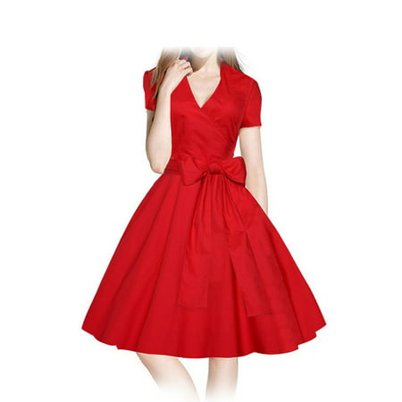 Party City Winter Springs (Women Vintage Dress 1950s 1960S Swing Retro Casual Office Bridesmaid  Knee-length Fashion Chinese Style Dress for Xmas Evening Party Ball Spring Summer Autumn Winter US Size)