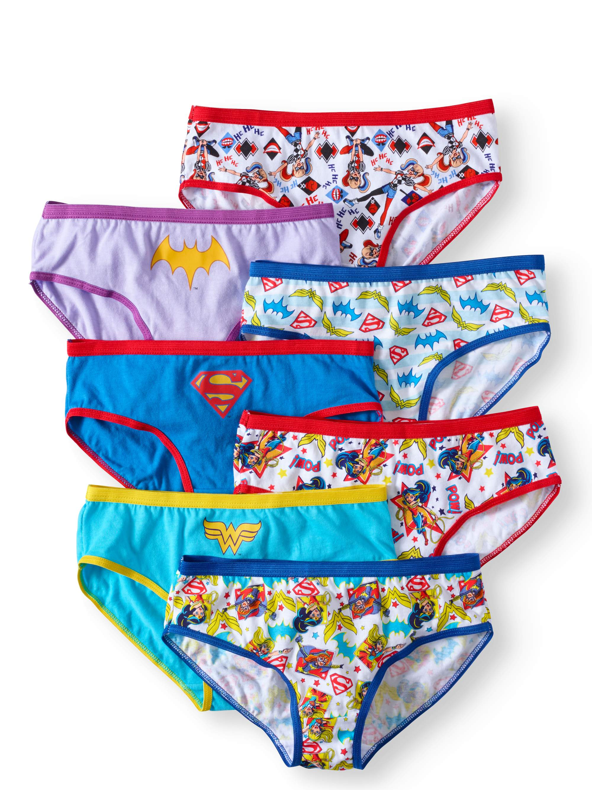 DC Superhero Girls, Girls Underwear, 7 Pack Panties Sizes 4 - 8