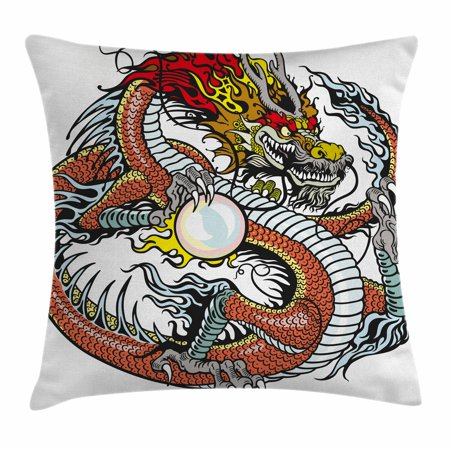 Traditional Chinese Pillow : Dragon Throw Pillow Cushion Cover, Traditional Chinese Creature Holding A Large Pearl Zodiac ...
