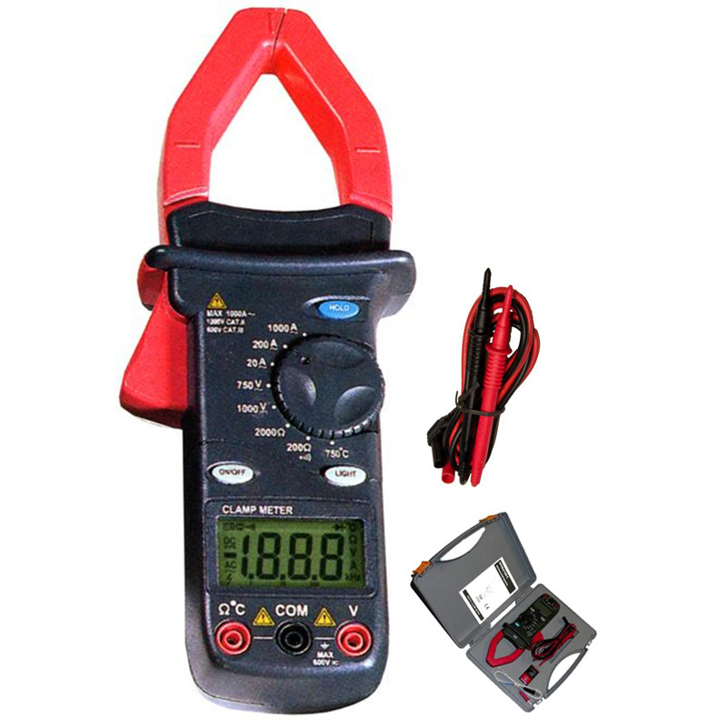 Cat III 1000A Digital Clamp Meter with Temperature Probe