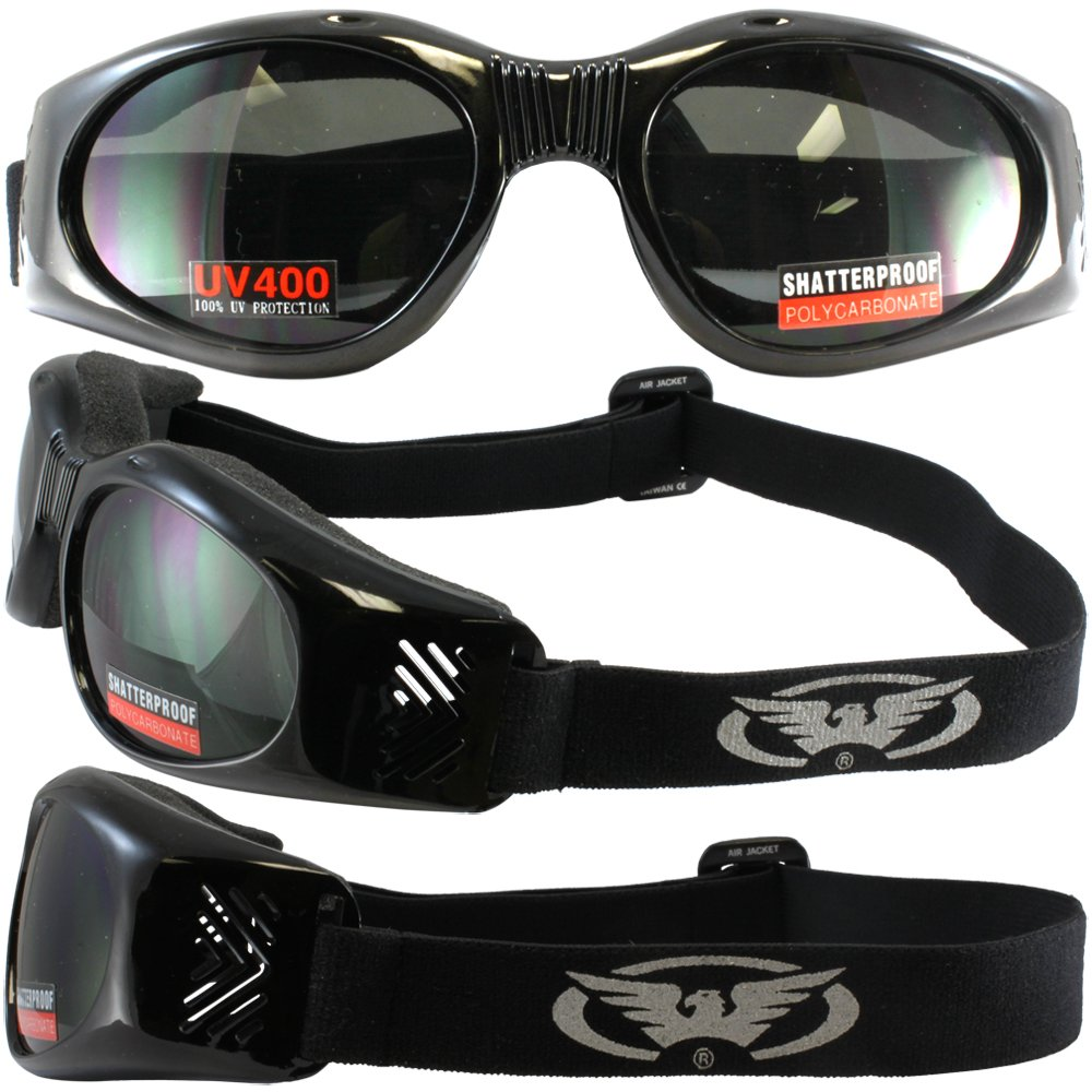 Air Jacket Smoked Motorcycle Goggles Padded for Dust Storm