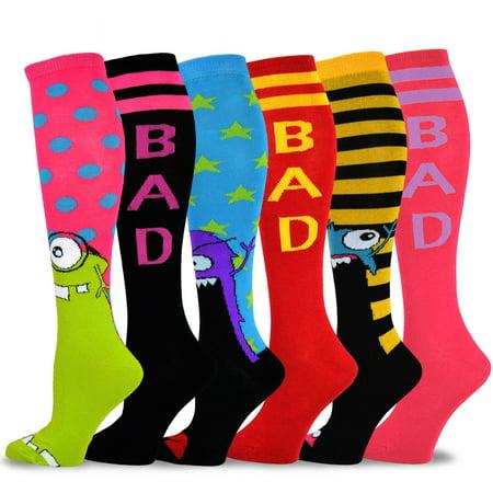 TeeHee Novelty Cotton Knee High Fun Socks 6-Pack for Women