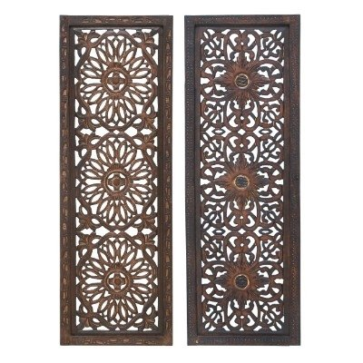 34087 Elegant Wall Sculpture - Wood Wall Panel 2 Assorted