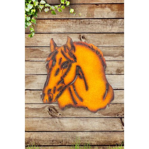 "Sunjoy 110311023 Horse 25"" Laser Cut Metal Wall Decor with Metal Rust Finish"
