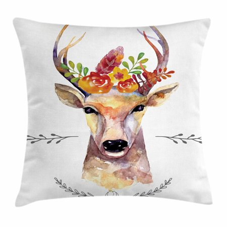 Indie Throw Pillow Cushion Cover, Deer Portrait in Watercolor Painting Style Boho Flower Bouquet Hipster Rustic Artwork, Decorative Square Accent Pillow Case, 16 X 16 Inches, Multicolor, by Ambesonne](Rustic Bouquet)
