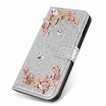 Dteck Premium Flip PU Leather Bling Glitter Diamond Wallet Card Slots Case Cover Flower,For Samsung Galaxy S10 Plus,silver
