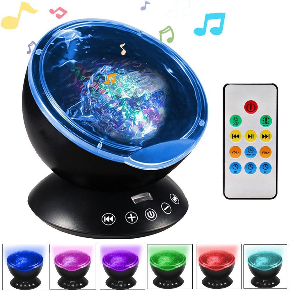 Multicolor Ocean Wave Porjection Lights with Built-in Music Player Projector Night Light Nursery Lamp for Kids Bedroom Mood Lighting Home Decoration