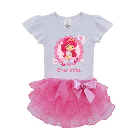 Personalized Strawberry Shortcake Ballerina Toddler Pink Tutu (Le Top Strawberry)