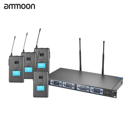 ammoon 4T Professional 4 Channel UHF Wireless Headset Microphone System 4 Mics 1 Wireless Receiver 6.35mm Audio Cable LCD Display for Karaoke Family Party Presentation Performance Public