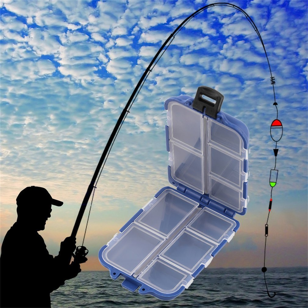 10 Compartments Storage Case Box Fly Fishing Lure Spoon Hook Bait Tackle Box Case Fishing Accessories by