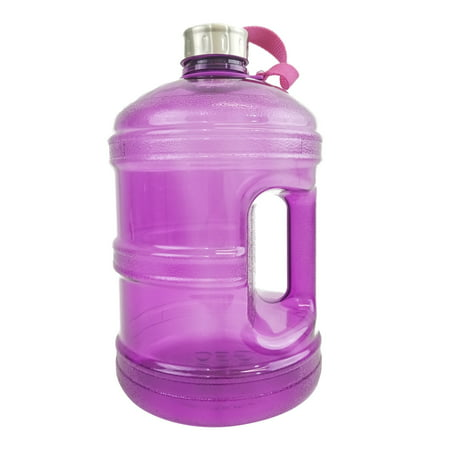 1 Gallon BPA FREE Reusable Plastic Drinking Water Bottle w/ Stainless Steel Cap -