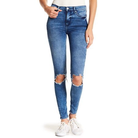 Free People Womens Busted Knee Skinny Jeans (Turquoise, 32)