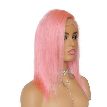 AISOM Blunt Cut Straight Full Lace Human Hair Wigs Pink Color 150% Density,