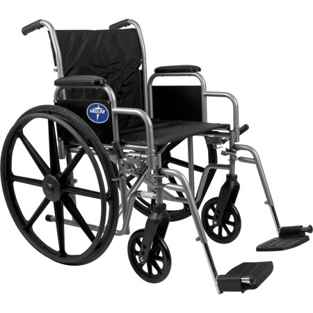 Medline Excel K1 Standard Basic Wheel Chair with Desk Length Armrests and Swing away Legrests