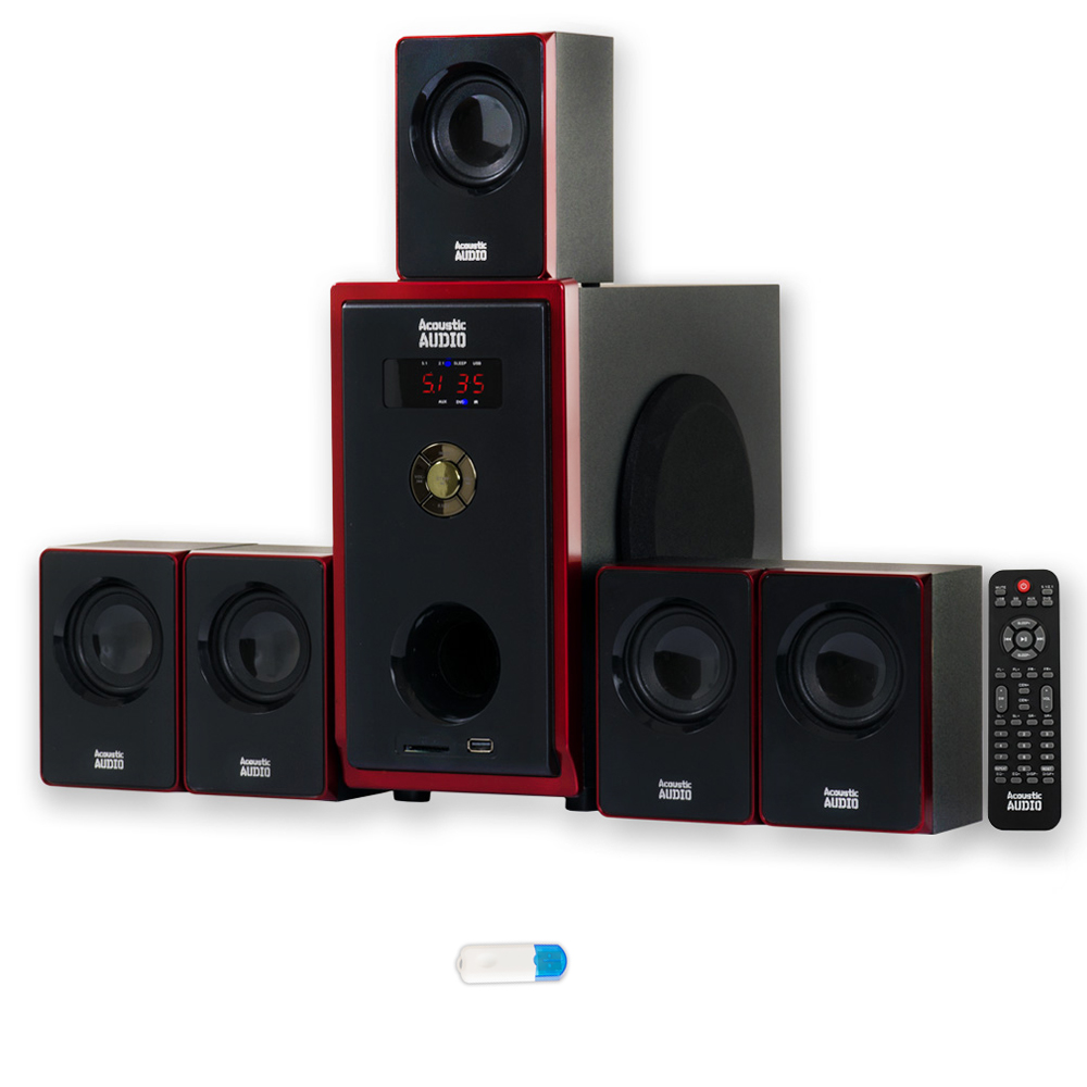 Acoustic Audio AA5103 Home Theater 5.1 Speaker System with USB Bluetooth Surround Sound