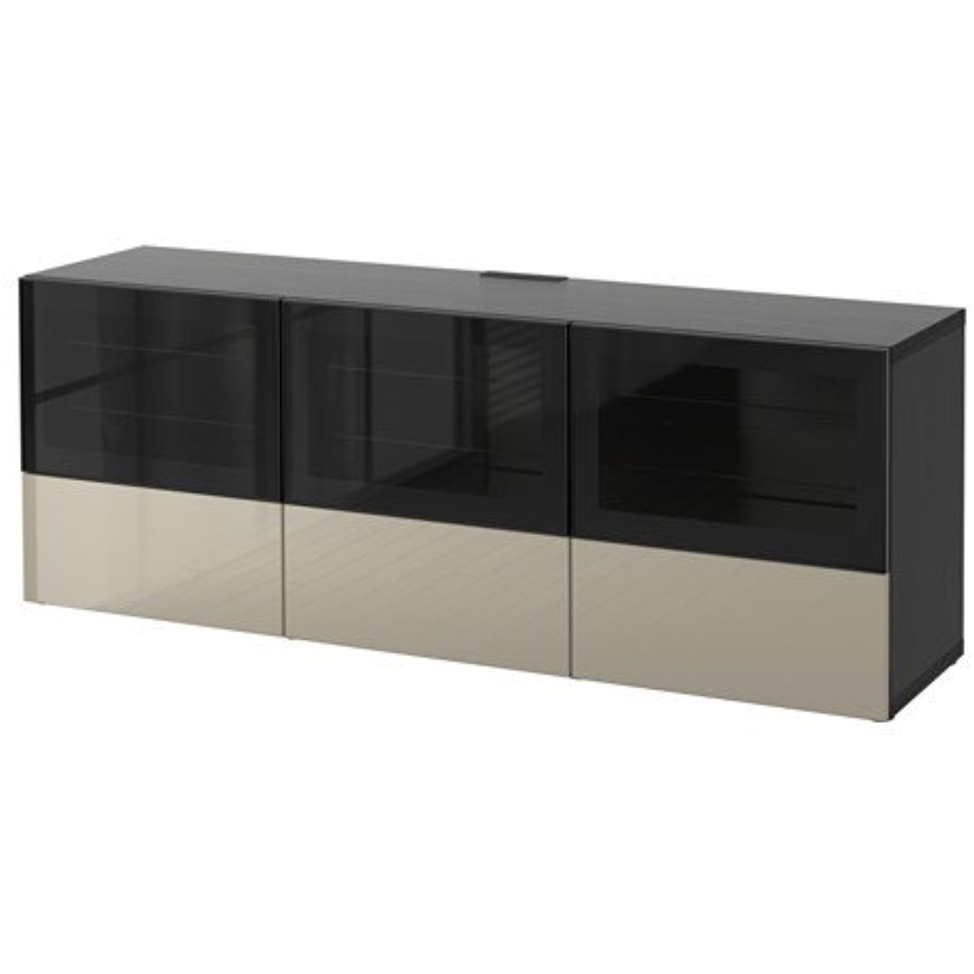 Ikea TV bench with doors and push-open drawers, black-brown, Selsviken high gloss/beige clear glass 8204.81411.66