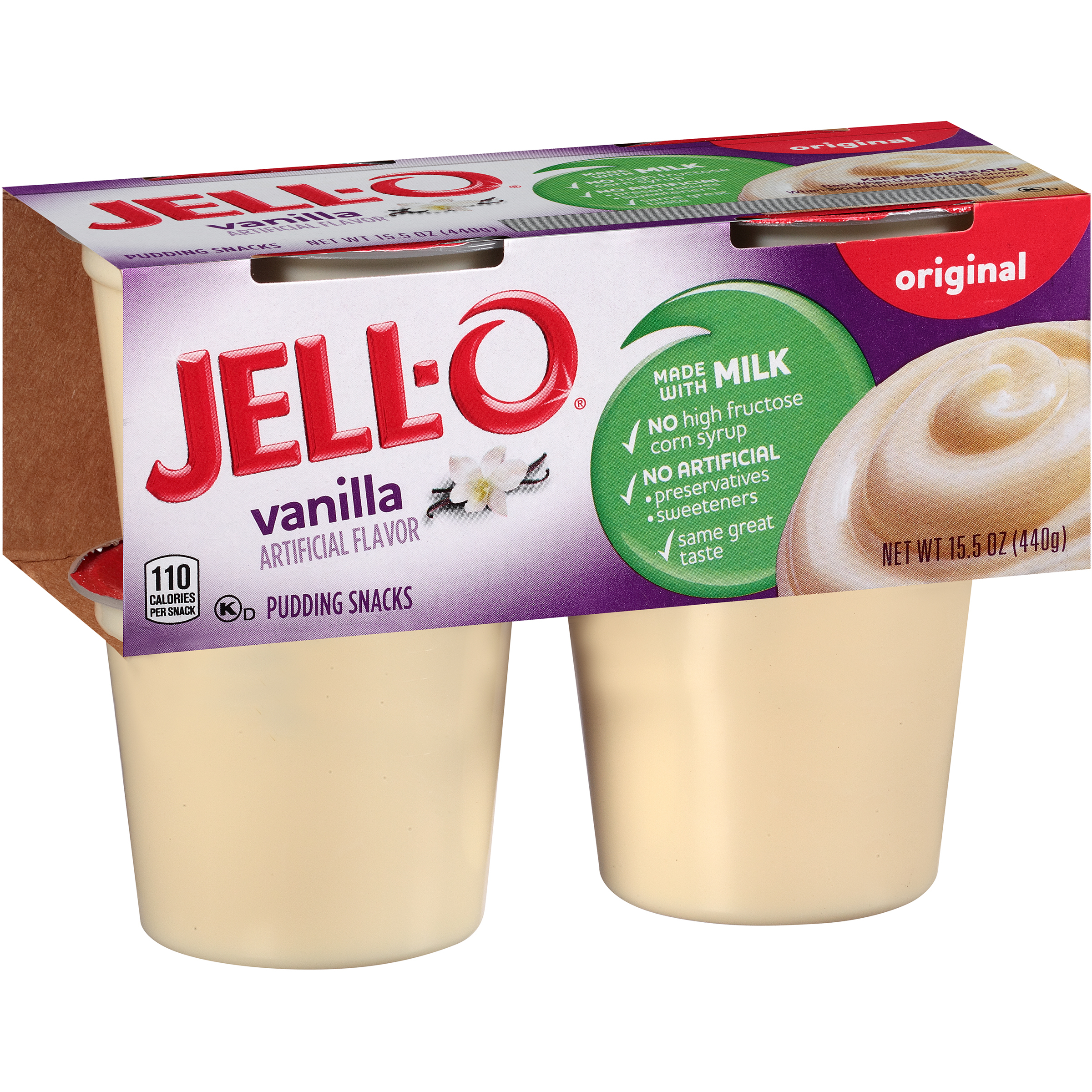 Jell-O Original Vanilla Pudding Snack, 3.875 Oz., 4 Count