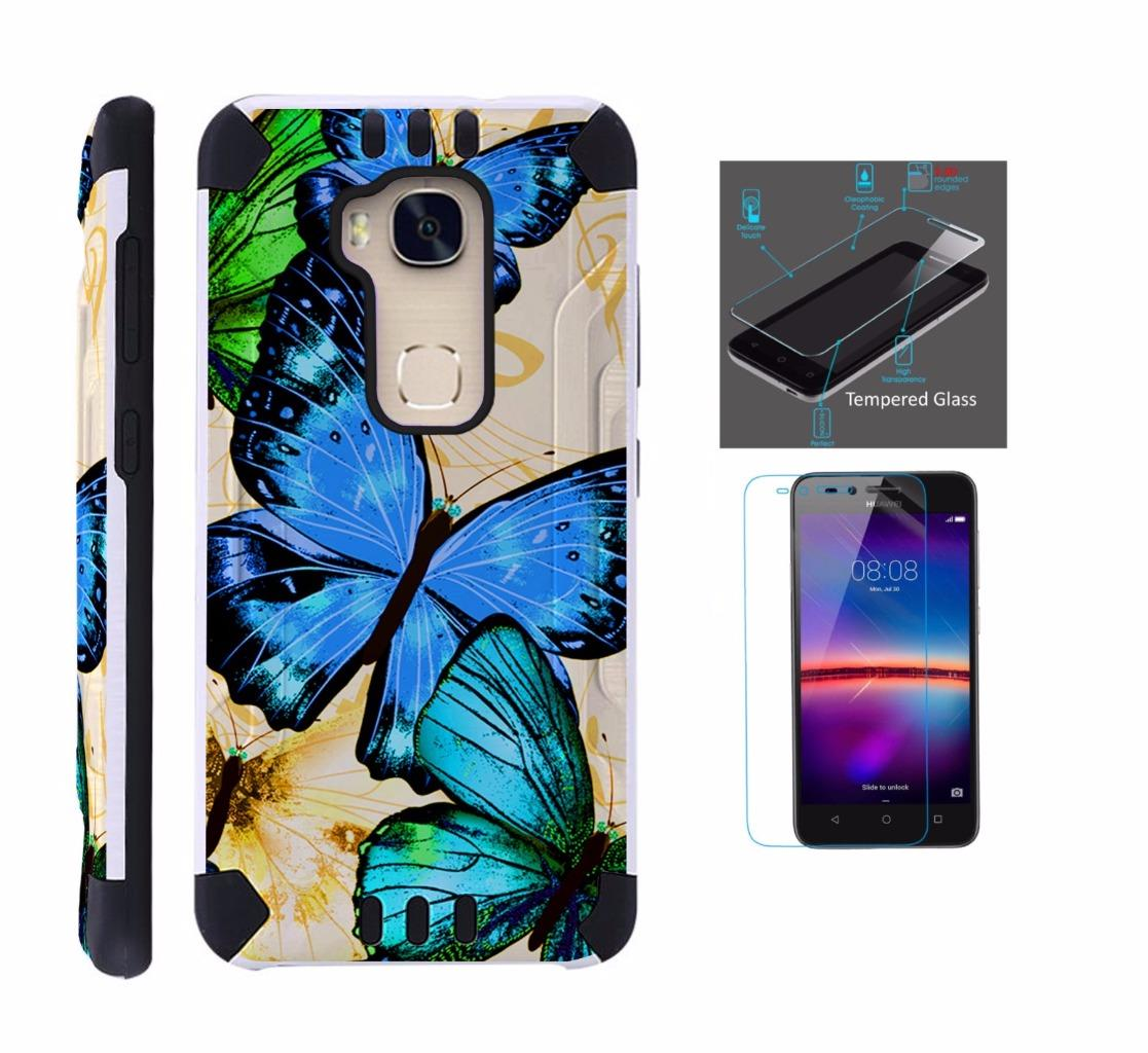 For Huawei Sensa 4G LTE Case + Tempered Glass Screen Protector / Slim Dual Layer Brushed Texture Armor Hybrid TPU KomBatGuard Phone Cover (Blue Butterfly)