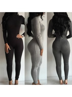 Stylish Autumn Style Women Casual Long Sleeve Skinny Solid Turtleneck Bodycon Romper Jumpsuit Bodysuit Long Full Length Pants