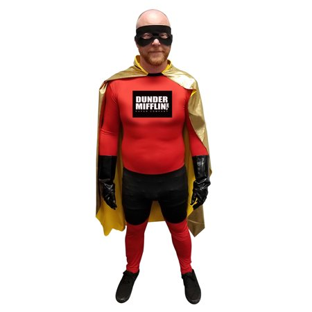 The Office Dwight Halloween Costume (Kevin Malone Dunder Mifflin Superhero Adult Costume The Office TV Show Hero)