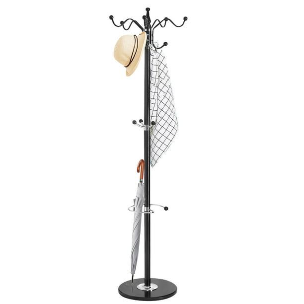 White Tangkula 70 Metal Coat Tree Hat Jacket Stand Tree Holder Hanger Rack w//Marble Base Coat Racks with 15 Hooks