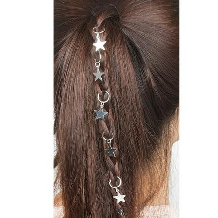 Star Tallit Clip (Women Hip-Hop Braid Hand Cross Shell Star Ring Hair Clips Accessory)