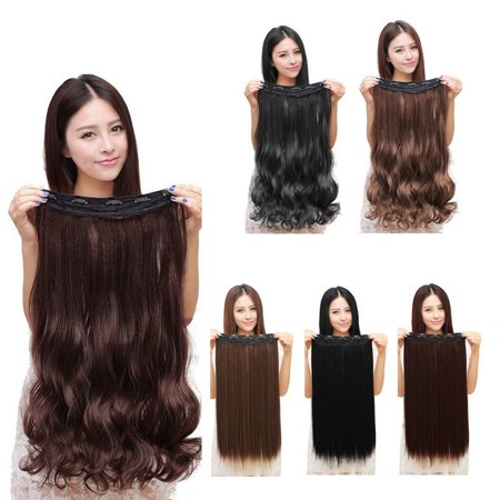 Fashion 3/4 Full head Clip In Hair Extensions Straight Curly With 5 Clips Long - image 5 de 6