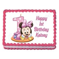 Disney Baby Minnie Mouse Number One Cake Candle First Birthday Edible Cake Topper Image