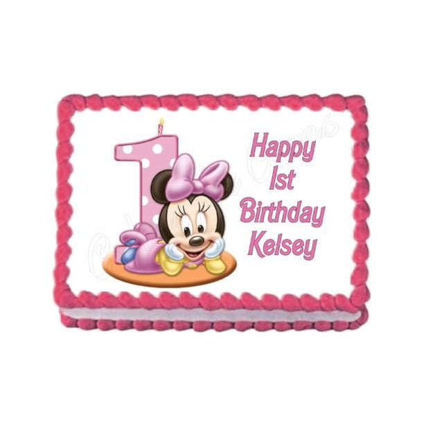 Fantastic Disney Baby Minnie Mouse Number One Cake Candle First Birthday Funny Birthday Cards Online Elaedamsfinfo