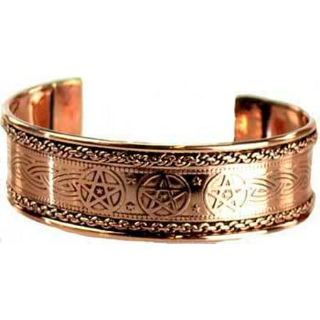 Womens Jewelry Bracelet Pentagram of Five Point Power Earth Shiny Copper Cuff Power of Three
