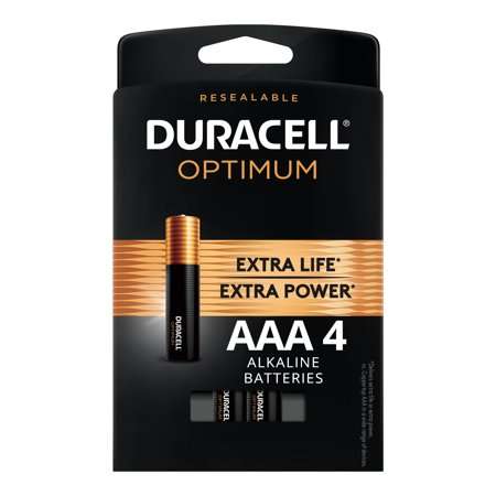 Duracell Optimum 1.5V Alkaline AAA Batteries, Convenient, Resealable Package, 4 (The Best Aaa Batteries)
