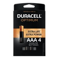 Duracell Optimum 1.5V Alkaline AAA Batteries, Convenient, Resealable Package, 4 Pack