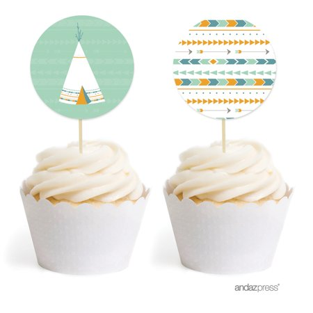Boho Chic Tribal Birthday Cupcake Topper DIY Party Favors Kit, - Bohemian Birthday Party