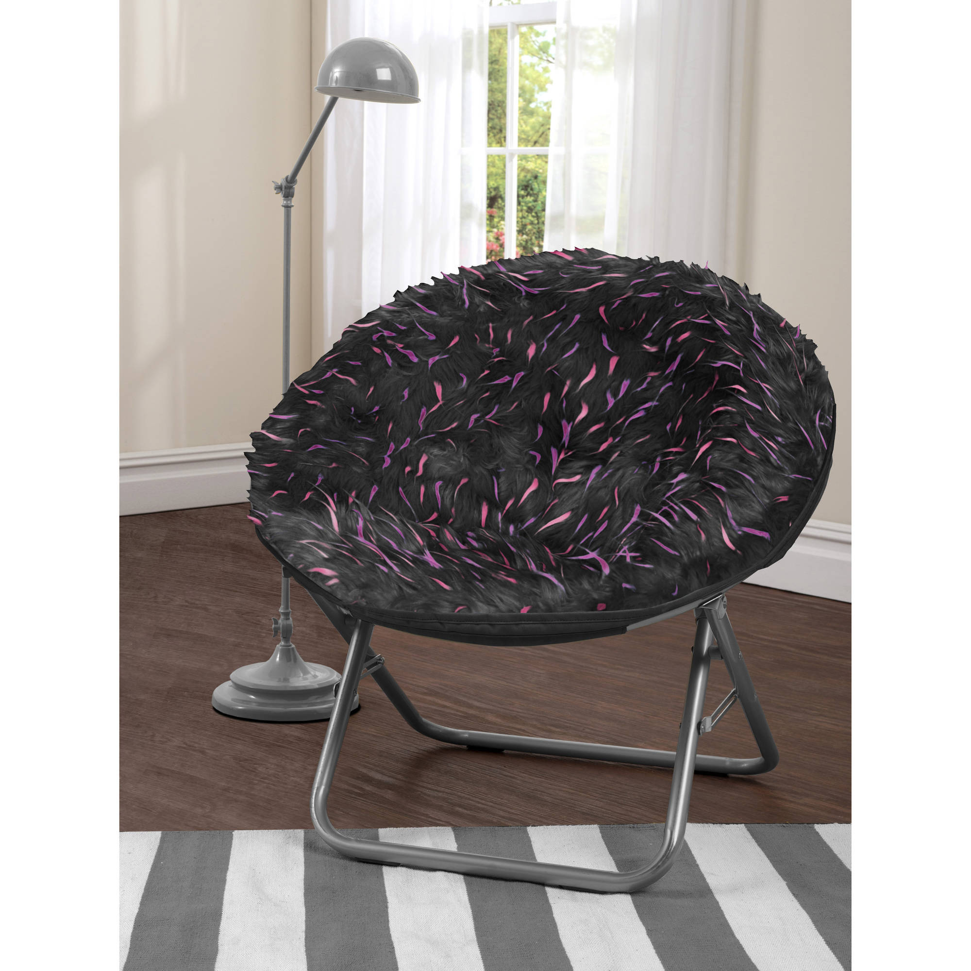 your zone spiker faux fur saucer chair, multiple colors