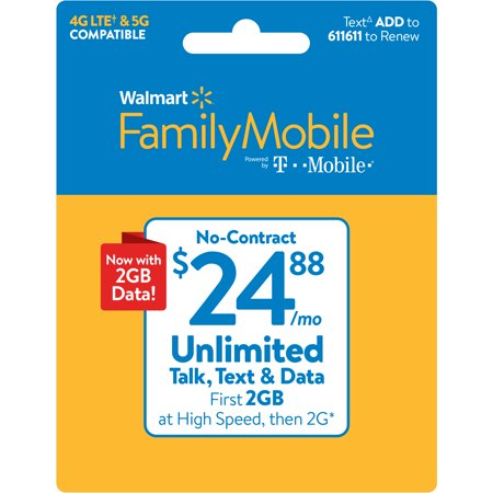 Walmart Family Mobile $24.88 Unlimited Monthly Plan (with up to 2GB at high speed, then 2G*) e-PIN Top Up (Email Delivery)