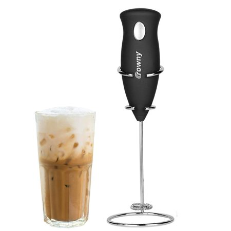 GLiving High Powered Milk Frother Handheld Foam Maker for Lattes-Electric Whisk Drink Mixer for Bulletproof Coffee, Mini Blender and Foamer Perfect for Cappuccino, Frappe, Matcha, Hot Chocolate (Best Blender For Hot Coffee)