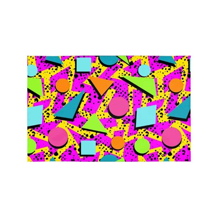 MKHERT Retro Vintage 80s Memphis Fashion Style Seamless Pattern Placemats Table Mats for Dining Room Kitchen Table Decoration 12x18 inch,Set of 4](80s Table Decorations)